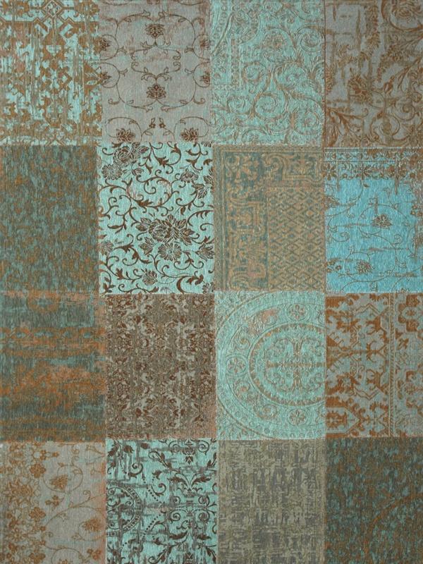 Louis de Poortere Vintage Kelim Tapijt 8006 Sea Blue Blauw, Grijs