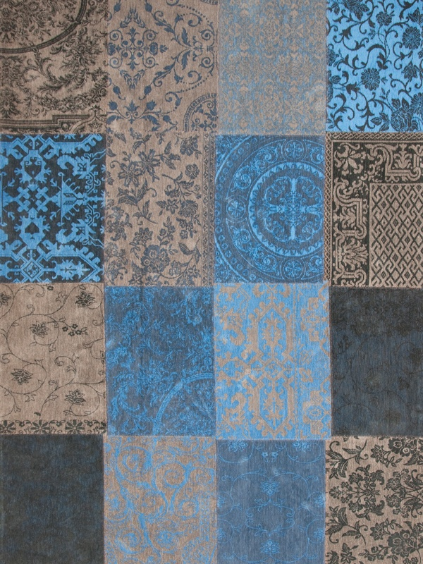 Louis de poortere vintage kelim tapijt 8107 forget me not blauw - Taupe en grijs ...