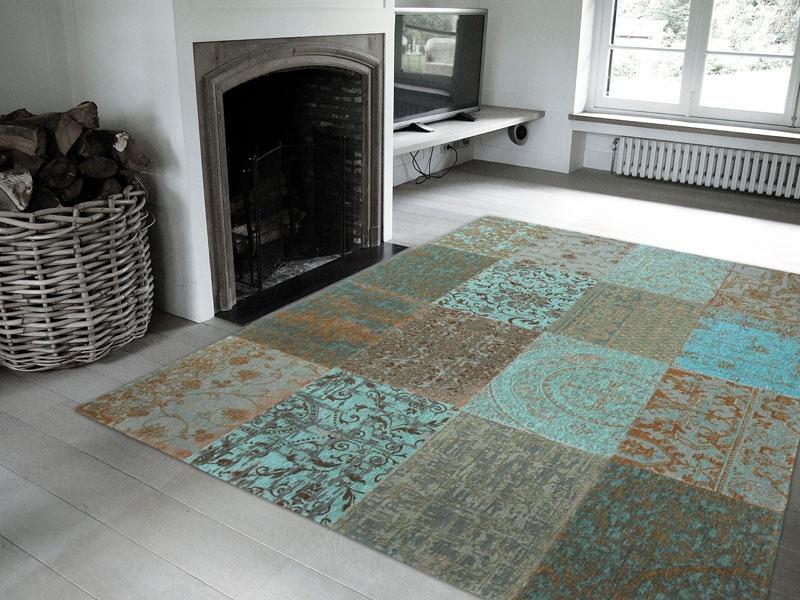 Vloerkleed Blauw Grijs : Louis de poortere vintage kelim tapijt sea blue blauw grijs