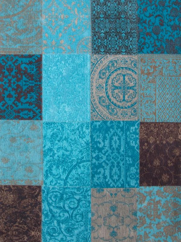Louis de Poortere Vintage Kelim Tapijt 8105 Turquoise Bruin, Blauw ...