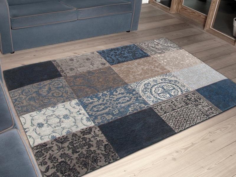 Vloerkleed Blauw Grijs : Louis de poortere vintage kelim tapijt blue denim blauw