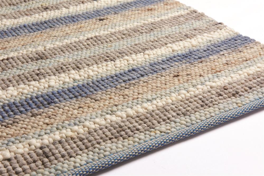 Vloerkleed Blauw Grijs : Brinker carpets greenland stripes blauw bruin grijs ivory