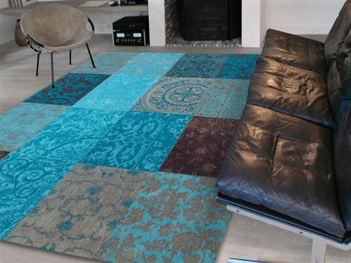 Louis de Poortere Vintage Kelim Tapijt 8105 Turquoise Blauw, Bruin, Grijs, Multicolor