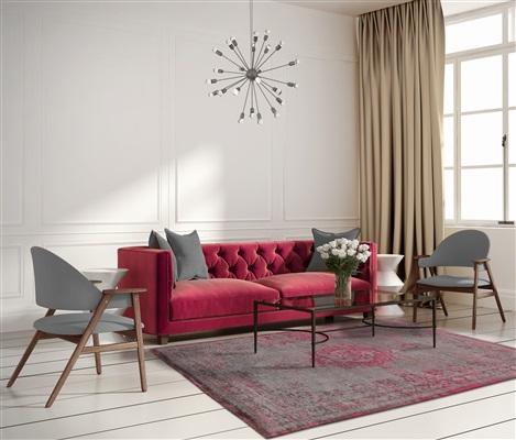 Louis de Poortere Fading World 8261-Pink Flash Grijs, Roze