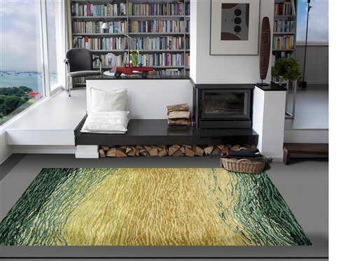 De Munk Carpets Nepal AITYA 251, (60 knots) Geel, Goud, Groen