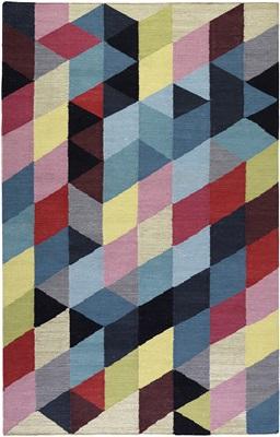 Esprit Rainbow Triangle kelim Esp-7722-01 Blauw, Geel, Multicolor, Rood