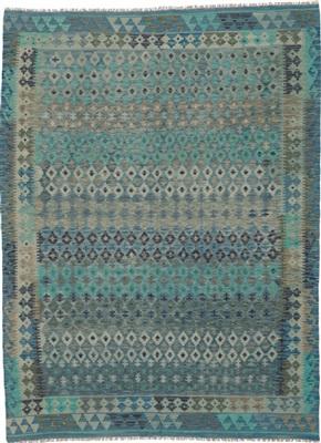 De Munk Carpets Kelim KMUCL-CC-279-183x249 Blauw, Groen