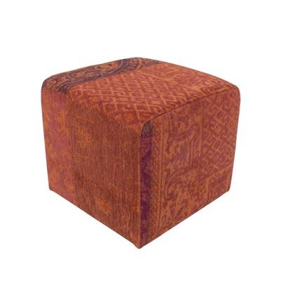 Vintage Kelim Tapijt 8103 Orange Purple Pouf [[ gaat uit collectie ]]